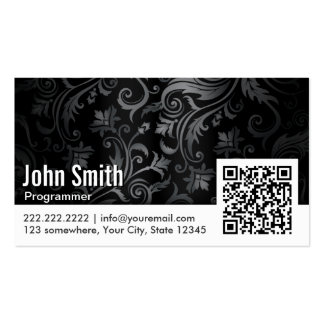 Floral Ornament QR Code Programmer Business Card