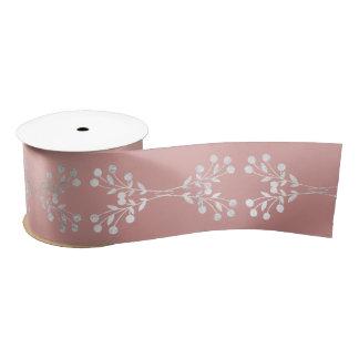 Floral Ornament Silver Pink Rose Gold Satin Ribbon