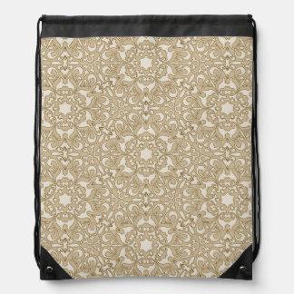 Floral ornate background drawstring bag
