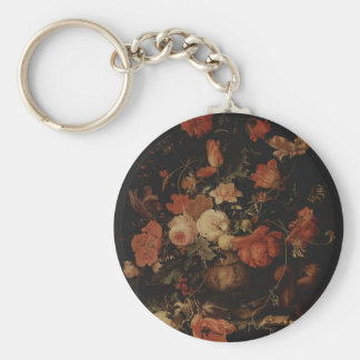 Floral painting by Abraham Mignon Keychains