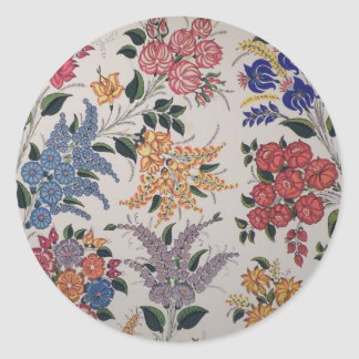Floral painting round sticker