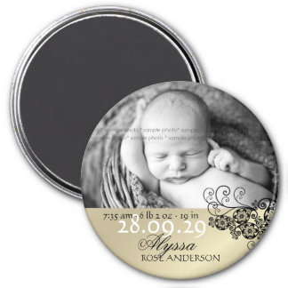 Floral Paisley Birth Announcement Photo Magnet