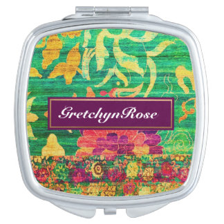 Floral Paisley Compact Mirror Makeup Mirrors