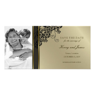 Floral Paisley Elegant Vintage Chic Save The Date Photo Card Template