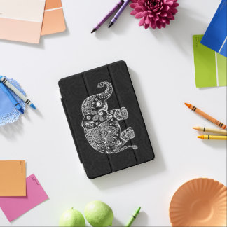 Floral paisley elephant in black & white iPad mini cover