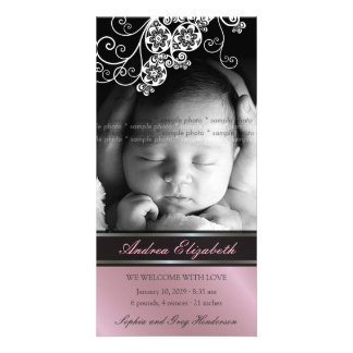 Floral Paisley Flower Chic Baby Birth Announcement Photo Card Template