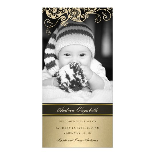 Floral Paisley Gold Birth Announcement Photo Card