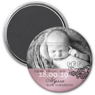 Floral Paisley Photo Birth Announcement Magnet