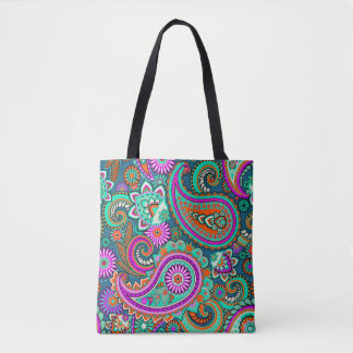 Floral Paisley seamless pattern II + your ideas Tote Bag
