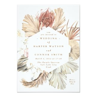 Floral Pampas Grass Tropical Jungle Invitation