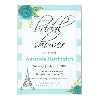 Floral Paris Bridal Shower Invitation - Watercolor