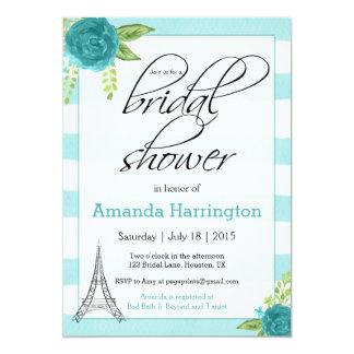 Floral Paris Bridal Shower Invitation - Watercolor