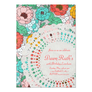 Floral Party Bridal Luncheon garden doily invite