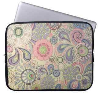 Floral pastel pink green paisley flower design laptop sleeve