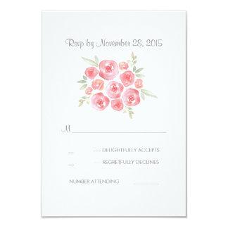 Floral Pastel Pink Roses Wedding RSVP Card 9 Cm X 13 Cm Invitation Card