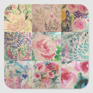Floral patchwork square sticker