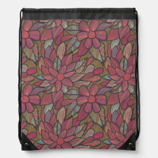 Floral pattern 4 3 drawstring bag