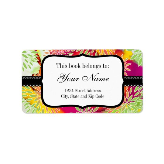 Floral Pattern and Watercolor Abstract Painting Address Label