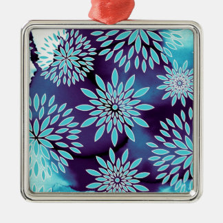 Floral Pattern and Watercolor Abstract Painting Christmas Tree Ornament