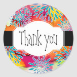 Floral Pattern and Watercolor Abstract Painting Round Sticker