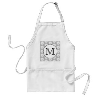 Floral Pattern, Black and White Custom Monogram. Standard Apron