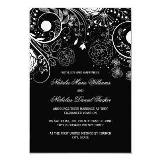 Floral Pattern Black/White-3x5Wedding Announcement