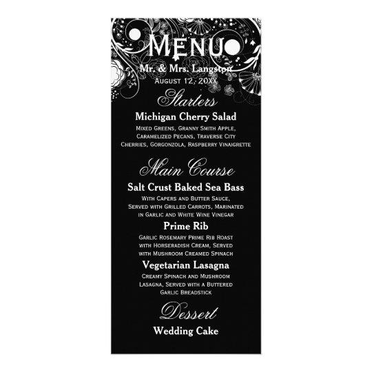 Floral Pattern Black/White - Reception Menu Rack Card Template