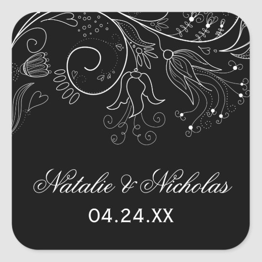 Floral Pattern Black/White Tulip - Square Sticker