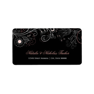 Floral Pattern Black with Tulip - Address Labels