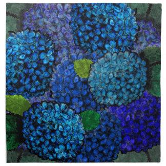 Floral Pattern, Blue Hydrangea Printed Napkins