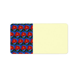 Floral Pattern. Blue with Red Poppy Flower. Label