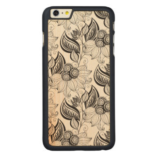 Floral Pattern Doodle Carved® Maple iPhone 6 Plus Case