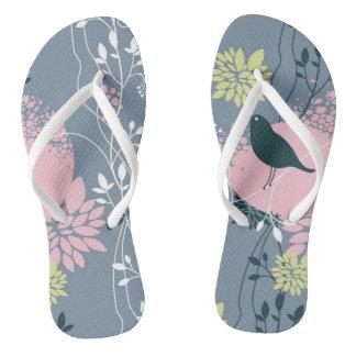 Floral Pattern Flip Flops