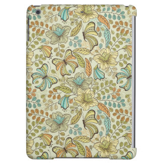 Floral pattern: flowers and butterflies iPad air cover