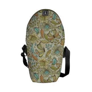 Floral pattern: flowers and butterflies messenger bags