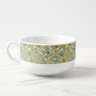 Floral pattern: flowers and butterflies soup bowl with handle