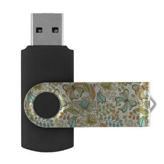 Floral pattern: flowers and butterflies swivel USB 2.0 flash drive