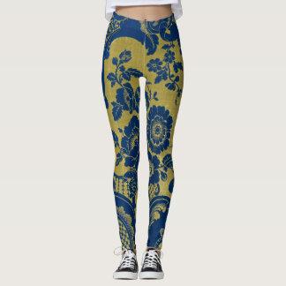 floral pattern, gold & blue classic leggings