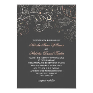 Floral Pattern Gray Tulip - 3x5 Wedding Invitation