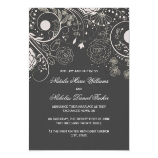 Floral Pattern Grey - 3x5 Wedding Announcement