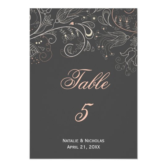 Floral Pattern Grey Tulip - Table Number