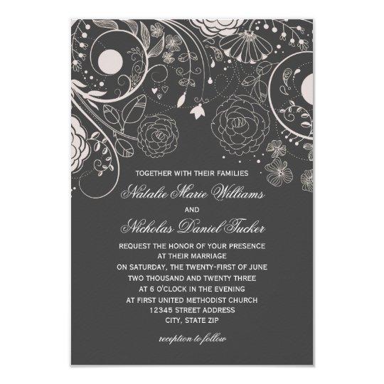 Floral Pattern Grey/White - 3x5 Wedding Invitation