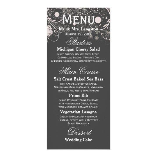 Floral Pattern Grey/White - Reception Menu Customised Rack Card
