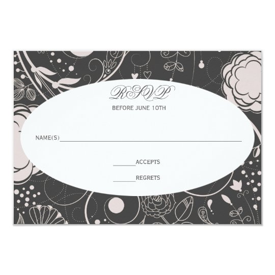 Floral Pattern Grey/White - RSVP Card