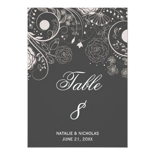 Floral Pattern Grey/White - Table Number Card