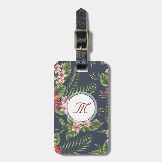 Floral pattern Hibiscus Monogram Luggage Tag