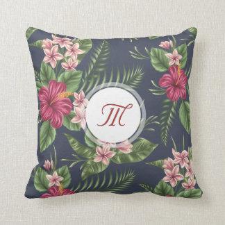 Floral Pattern Hibiscus Monogram Pillow