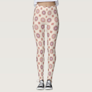 floral pattern in boho style leggings