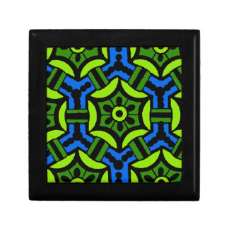Floral Pattern in Bold Green and Blue Keepsake Box