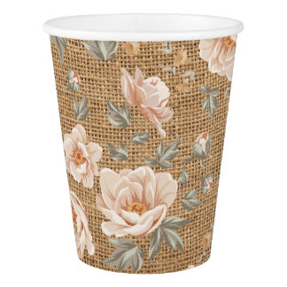 Floral Pattern in Burlap. Paper Cup